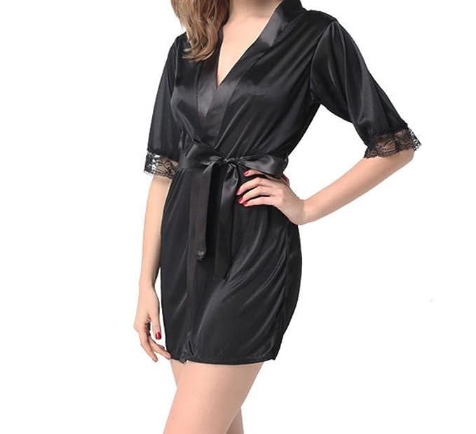 bd6705c3eb Elegani Women s Satin-Short Sleeve Lace Trim Kimono-Robe Lightweight Night-Gown  Dress
