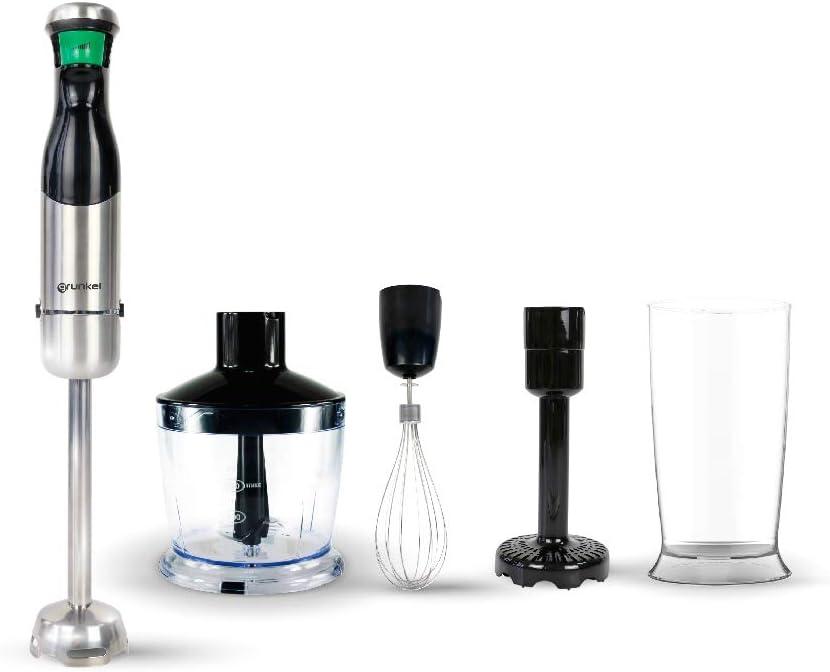 Grunkel - Batidora de mano con intensidad regulable por gatillo con indicador LED. Incluye set de accesorios - Negro y acero inoxidable (SET)