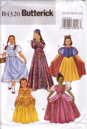 Butterick Sewing Pattern B4320 Girls' Classic Movie Character Costumes Sizes -