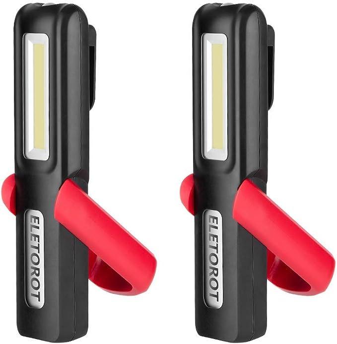 Eletorot 2 Pack Tragbare Arbeitslampe Inspektionslampe Wiederaufladbar Und Magnetisch 3 W Cob Led Superhell Inspektionslampe Magnetischer Sockel Und Haken Zum Aufhängen Für Auto Reparatur Baumarkt
