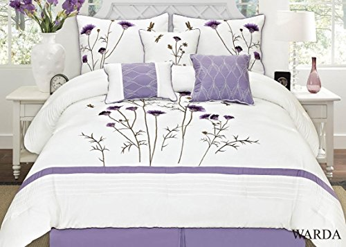 (MK Collection 7pc Queen Comforter Set Embroidery Off White Lavender Green Purple Flowers)