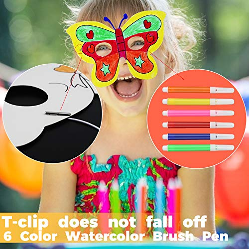 DIY animal masks, 40 Sets DIY Blank Graffiti Masks Jungle Paper Masks with Colored Pens and Elastic ropes for Kids Dress up Birthday Party Halloween Cosplay Hand Painting Art Crafts Favor