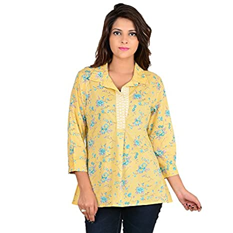 GOODWILL Women's Casual Floral Print 3/4thSleeve Cotton Top Tops
