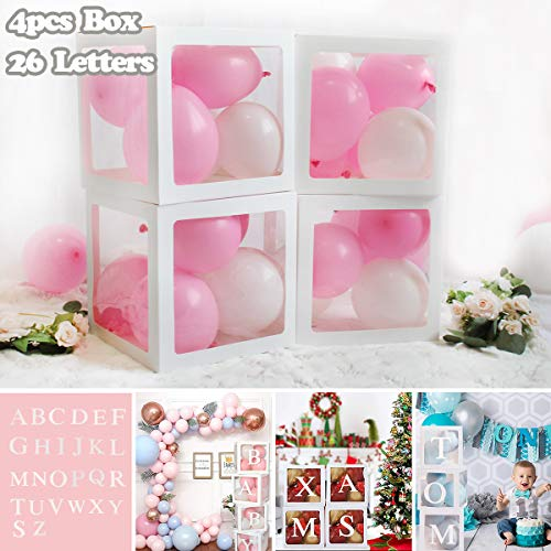 Birthday Party Baby Shower Decorations - DIY 4pcs White Transparent Boxes with A - Z Letters, Party Boxes Block for Baby Shower, DIY Name Combination, Birthday Boxes Gender Reveal Party Supplies
