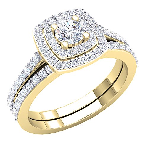 Dazzlingrock Collection 1.50 Carat (ctw) 10K Round Cubic Zirconia Ladies Bridal Ring Set 1 1/2 CT, Yellow Gold, Size 7.5 ()