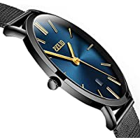 Mens Thin Watches with Mesh Band,Men's Analog Quartz Watch Ultra Thin Dial Date,Mens Stainless Steel Watch with Blue Face,Simple Wrist Watch Men Slim Watch for Men,Watch Chain Can Be Adjusted Freely