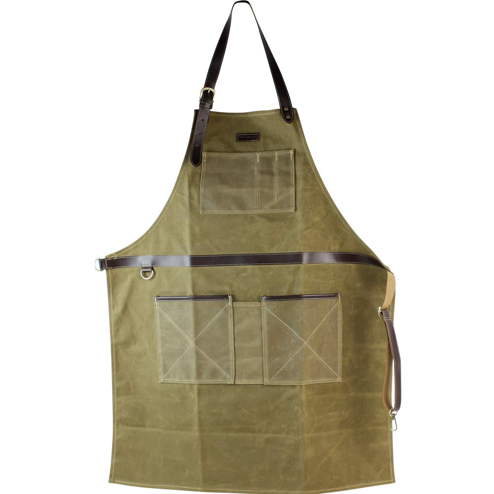 INNO STAGE Tools Apron,Waxed Canvas Work Bib Aprons with Pockets,Full Coverage Utility Apron,Hand Tool Organizers,Gardening Carpentry Lawn Care Accessories for Women and Men by INNO STAGE (Image #1)