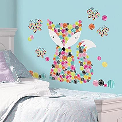 Roommates rmk2758gm prismatic fox peel and stick giant wall decals