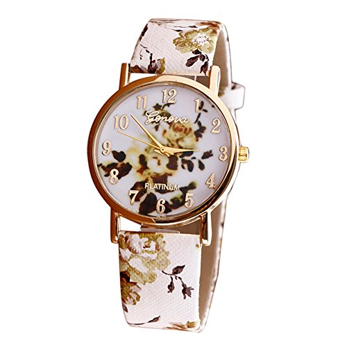 Leoy88 Women Vogue Purple Flower Patterns Analog Quartz Wrist Watches