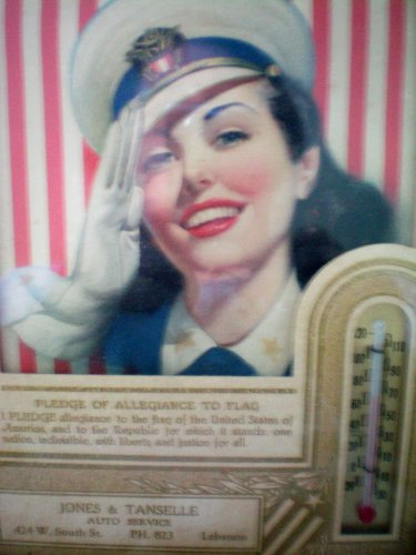 """Vintage Advertising Collectible -- Jones & Tanselle Auto Service Lebanon -- Framed Woman Military with Pledge of Allegiance and Thermometer -- 6"""" x 8"""""""