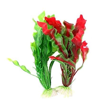 eDealMax acuario 2pcs 7.9 Altura Red Green agua de plástico acuática Plantas de la decoración