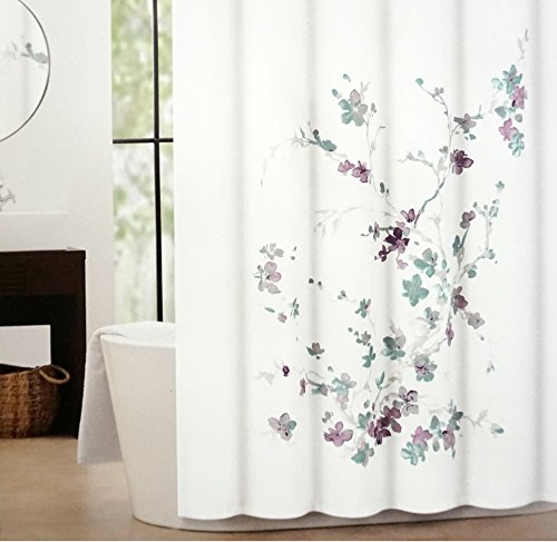 Tahari Printemps Purple Plum Gray Teal On White Cotton Blend Shower Curtain Tree Branch By Amazoncouk Kitchen Home