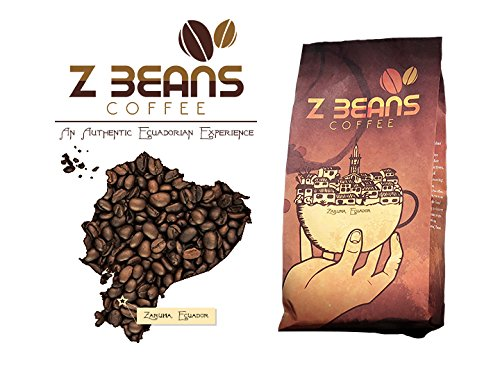 Z Beans Coffee - Genuine Ecuadorian Coffee - Arabica, Best Ground Coffee (15oz. Bag) - Dark Roast Single Origin - High Altitude Grown - 100% Processed Organic - 100% Native Farmer Validated