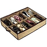 seguryy 12 Pairs Tidy Under Bed Fabric Shoes Storage Organizer Shoe Bags (Pack of 2)