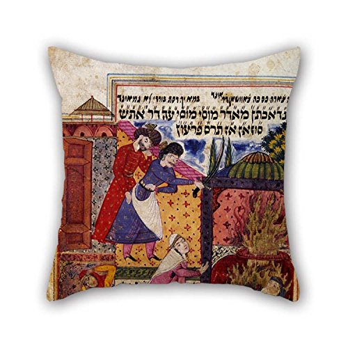 Oil Painting Scribe- Nehemiah Ben Amshal Of Tabriz - M???s??? N???ma (The Book Of Moses) By Mulana Sh???h???n Shirazi Pillow Cases 16 X 16 Inches / 40 By 40 Cm (Snuggle Leather Loveseat)