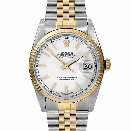 Rolex Mens 36mm Stainless Steel & Yellow Gold Datejust Swiss-Automatic Watch – 16013 – White Stick Dial – Yellow Gold Fluted Bezel – Two-tone Jubilee Band (Certified Pre-Owned)