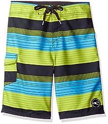 O\'Neill Big Boys\' Santa Cruz Boardshort, Stripe Lime, 27