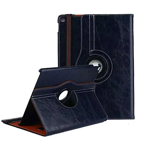 Cover for iPad Air 2,TechCode 360 Degrees Rotating Multi Function Screen Protective Flip Folio Stand Smart Case Cover for Apple iPad Air 2 9.7 inch Tablet(iPad Air 2, Dark Blue)