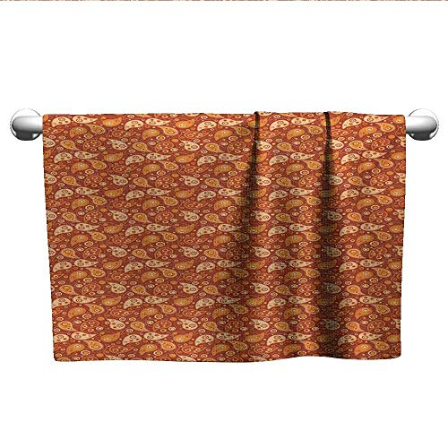 (LilyDecorH Orange,Wholesale Towels Retro Style Pattern with Paisley and Flowers Stylized Ornate Leave Figures Bath Towels for Kids Redwood Orange Cream W 10