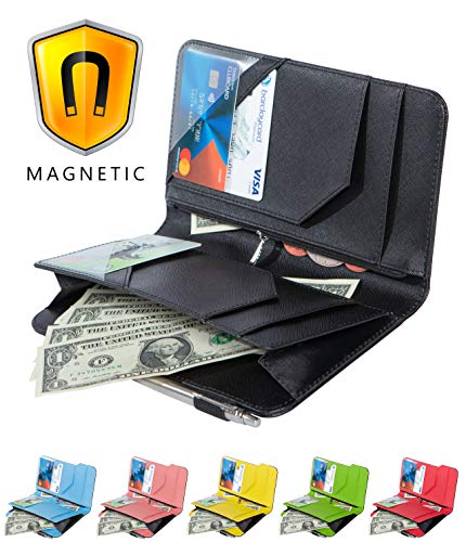 Leather Wallet Money Organizer - Ogalv Server Book with Zipper Pocket for Waitress Waiter Organizer Magnetic Wallet with Money Black Pen Holder Fits Restaurant Guest Check Order Pad and Apron