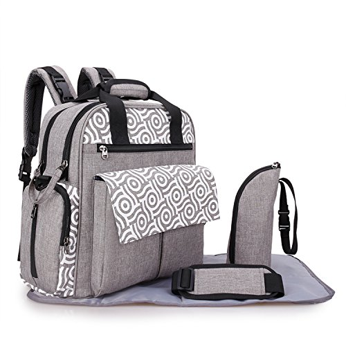 3 in 1 Diaper Bag Backpack Multi Function Maternity Nappy Bag Tote Bookbag with Changing Pad Insulation Bag (Grey)