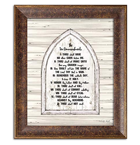 Gango Home Decor Country-Rustic Ten Commandments by Cindy Jacobs (Ready to Hang); One 12x16in Gold Trim Framed Print