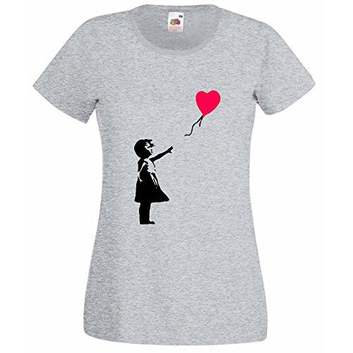 Of Coeur Femmes Banksy Fruit Hasard Loom shirt Ballon Amour Super Premium T Romantique Cadeau Gris Seul Au The Sur Fille Décalque Avec Gratuit tqY8wyx5