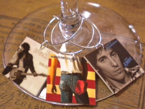 FortySevenGems Set of 6 Bruce Springsteen Album Cover Collection Wine Charms Mailed in a Gift Bag