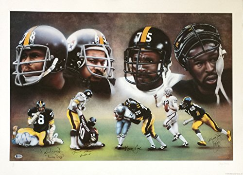 Pittsburgh Steelers Steel Curtain Signed 24x33 Lithograph LE /1000 BAS LOA