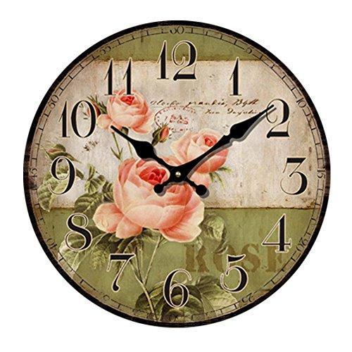 Wall Clock Flower Vintage Home Cafe Bar Decoration - 4