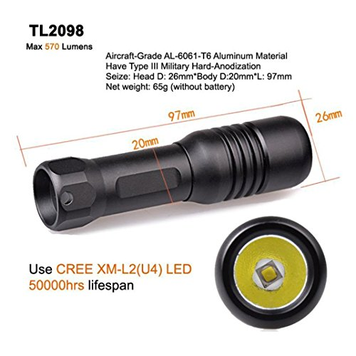 Liao Shan life 150M Mini Diving Mask Light Scuba Back-up Torch Attach On Mask Use Aa or 14650 Battery 570lumens Adjustable 360 Angle Holder (Black) (Torch+bracket) by liaoshan life (Image #7)