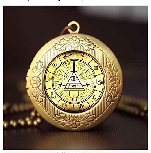 Steampunk Drama Gravity Falls Mysteries BILL CIPHER WHEEL Pendant Necklace glass doctor who 1pcs/lot Glass mens handmade jewelry ()