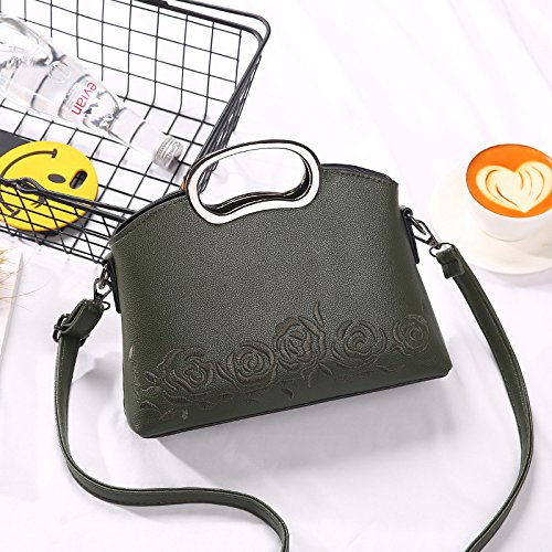 GUANGMING77 Schultertasche Hand Bestickt Lady Rose_ Army green J9FoETW61w