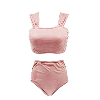 3d0a92fd8d9 Amazon.com  CARMELAA S-XXL Bather Velvet Bikini Set Plus Size Swimwear  Women 2018 Vintage Swimsuit High Waist Bikini Women  Clothing