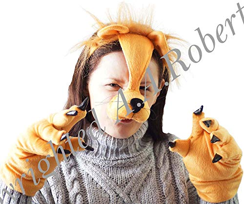 CL COSTUMES World Book Day-Cowardly Lion-Aslan-King of The Jungle-Wizard of Oz-Fancy Dress Deluxe Plush Lion Animal Dress UP Set ()