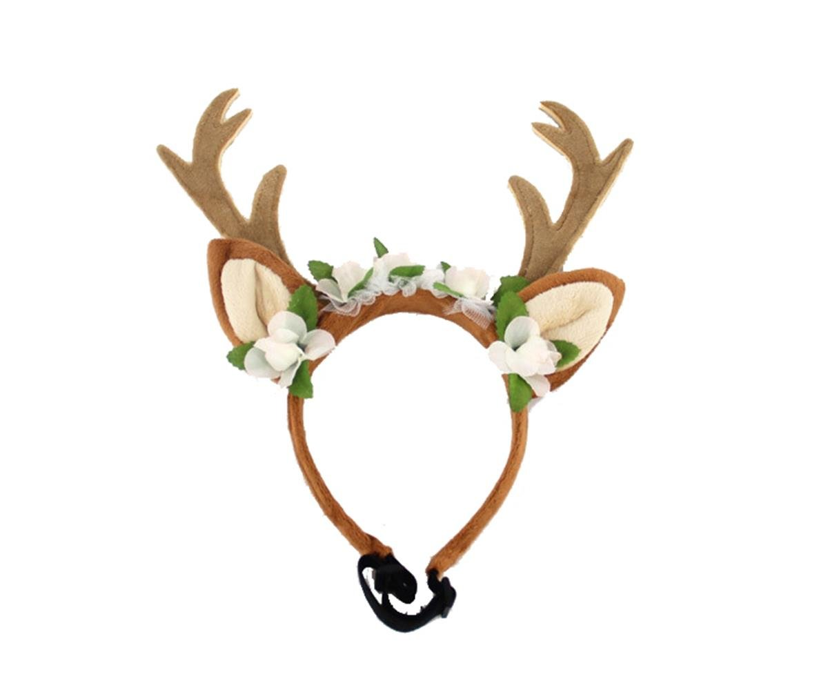 Lovely Christmas Pet Antler Hat for Dog Cats Party Clothes, Christmas Halloween Cosplays Accessories Holiday Costume Supplies by PetBoBo
