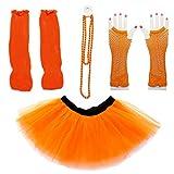 Dreamdanceworks 80s Fancy Costume Set - TUTU & LEG WARMERS & FISHNET GLOVES & BEADS (Orange) OneSize