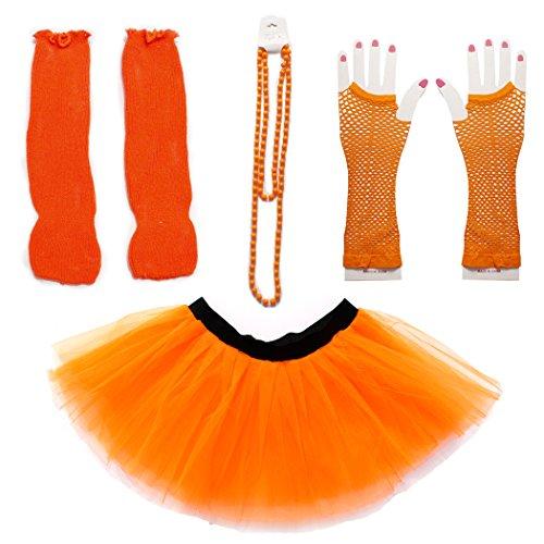Dreamdanceworks 80s Fancy Costume Set - TUTU & LEG WARMERS & FISHNET GLOVES & BEADS (Orange) OneSize -