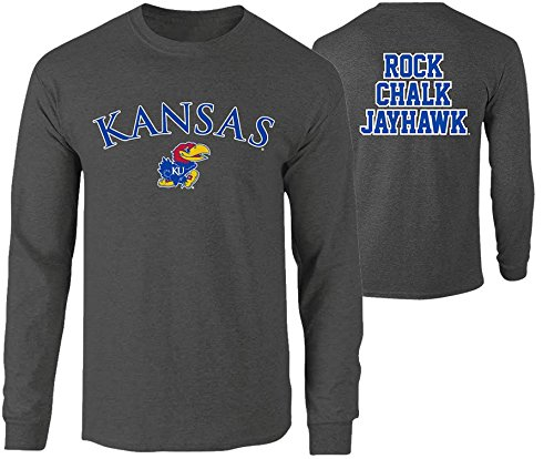 Elite Fan Shop NCAA Men's Kansas Jayhawks Long Sleeve Shirt Dark Heather Back Kansas Jayhawks Dark Heather Medium