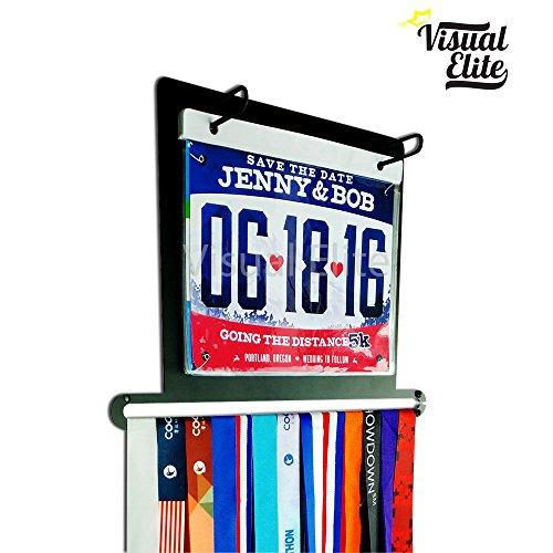 | Medal and Bib Display (VE-763) | Includes Bib Portfolio Vinyl Protector Sheets | Hand-Forged Black Metal Hanger Design For Marathon, Running, Race, 5K, Etc. | The Medal Hangers Collection ()