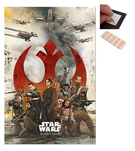 Bundle - 2 Items - Star Wars Rogue One Rebels Poster - 91.5 x 61cms (36 x 24 Inches) and a Set of 4 Repositionable Adhesive Pads For Easy Wall Fixing