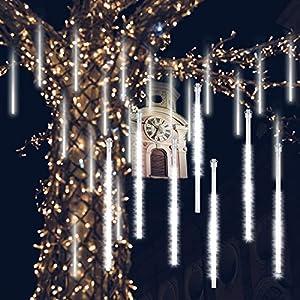 GPODER Doccia Pioggia Luci 30CM, 8 Impermeabile Tubo Luci della Pioggia di Meteore, 288 LEDs Waterfall Light per Natale/Esterno/Albero/Casa/Giardino/All'Aperto Decorazione(Bianco) 12 spesavip