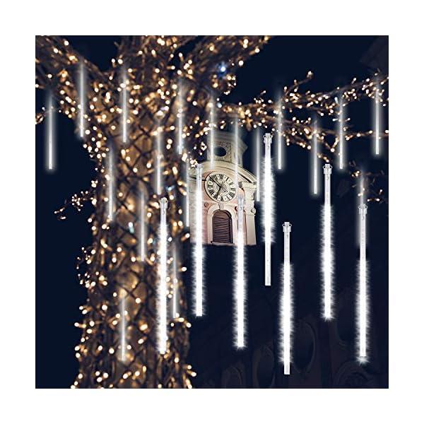GPODER Doccia Pioggia Luci 30CM, 8 Impermeabile Tubo Luci della Pioggia di Meteore, 288 LEDs Waterfall Light per Natale/Esterno/Albero/Casa/Giardino/All'Aperto Decorazione(Bianco) 1 spesavip