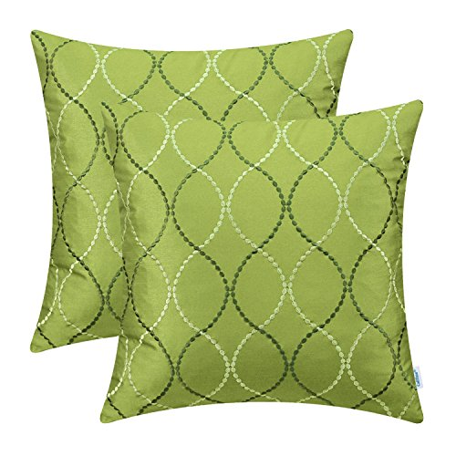 CaliTime Pack of 2 Cushion Covers Throw Pillow Cases Shells for Home Sofa Couch Modern Waves Lines Embroidered 18 X 18 Inches Olive Green