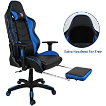 Kinsal Ergonomic High-back Large Size Gaming Chair, Office Desk Chair Swivel Blue PC Gaming Chair with Extra Soft Headrest, Lumbar Support and Retractible Footrest (Blue)