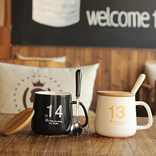 BBujsgH 1 cups of water lovers CERAMIC MUG with lid to scoop H2O coffee cups ,1314 drink water, 380ml 80100mm,