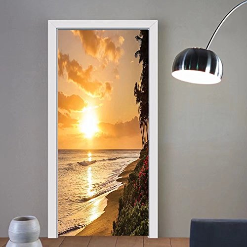 Gzhihine custom made 3d door stickers Hawaiian Warm Tropical sunset on SaUIF of Kaanapali Beach in Maui Hawaii Destination for Travel For Room Decor 30x79 by Gzhihine