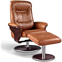 Artiva USA Milano Modern Bendwood Leather Swivel Recliner with Ottoman, Brown