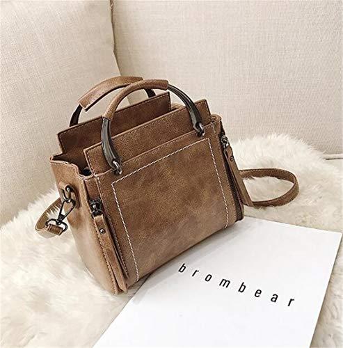 LIUGHGB Vintage Female Tote Bag PU Leather Women's Designer H Bag Capacity Shoulder Messenger Bags Khaki 21 X 13 X 19 cm