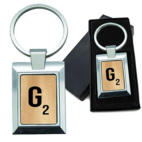 BleuReign(TM) Monogram Wooden Letter G Rectangle Metal Keychain Metal Tile Letter Holder